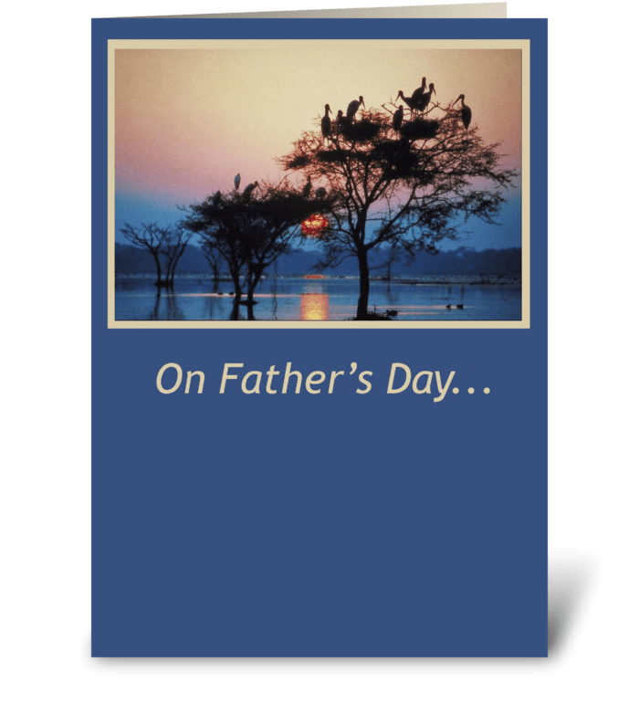 Father's Day Trees, Sunset on Water greeting card