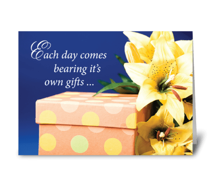 Birthday Gift With Lilies greeting card