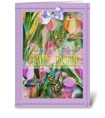Happy Easter, Tulips and Bow greeting card