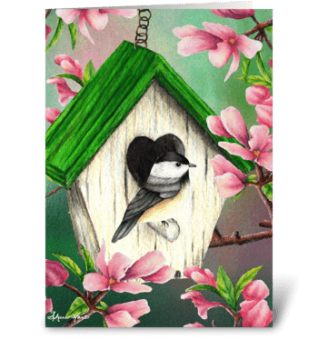 Springtime Chickadee greeting card