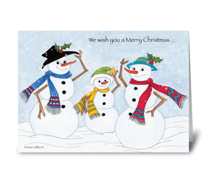 Merry Christmas Snow Family greeting card