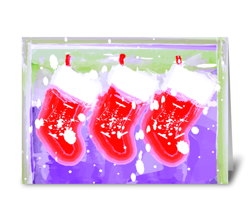Christmas Stockings of Joy greeting card