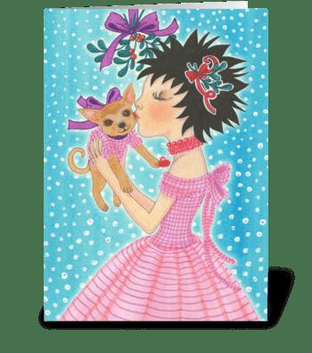 Mistletoe Love & Hugs Dog greeting card