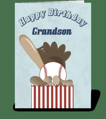 Baseball Grandson - Happy Birthday greeting card
