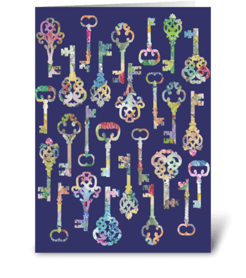 Rainbow Skeleton Keys greeting card