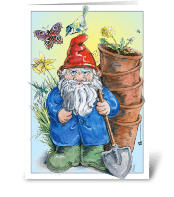 Gardening Gnome greeting card