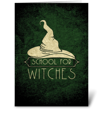 School for Witches Halloween Card greeting card