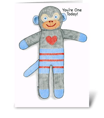 Sock Monkey One Year Birthday greeting card