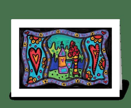 Wine & Roses greeting card