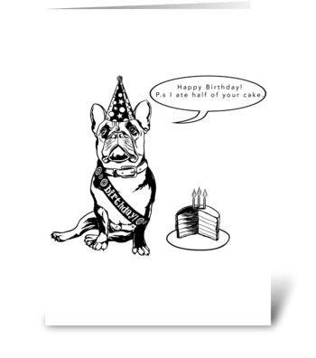 French Bulldog Birthday Card greeting card