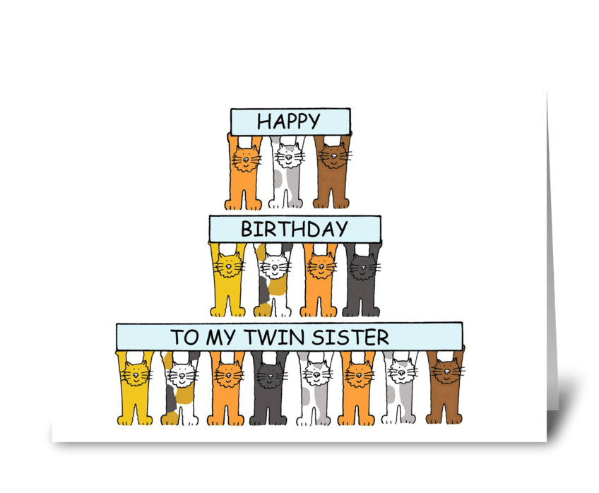 Cats Birthday Card For Twin Sister Send This Greeting Card