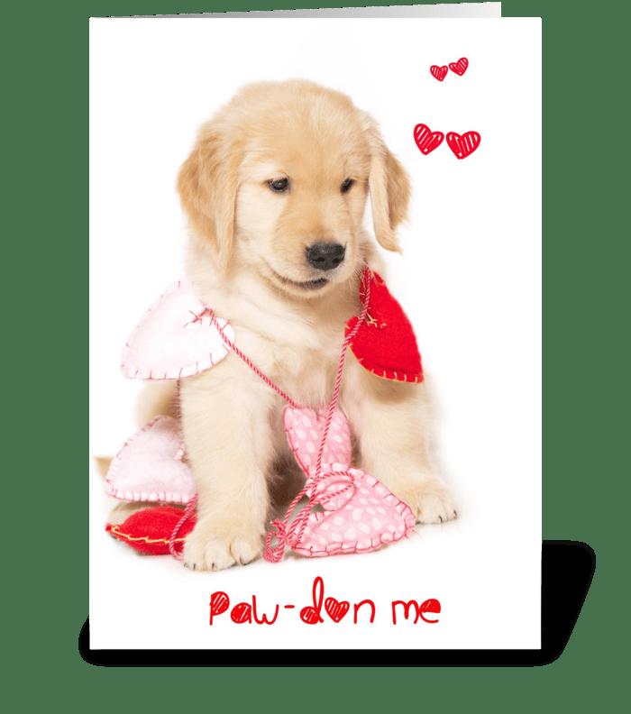 Pawdon Me Puppy Valentine greeting card