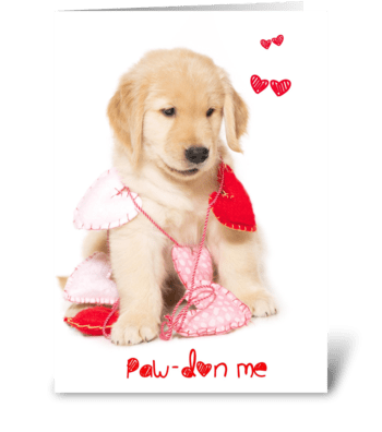 Pawdon Me Puppy Valentine greeting card
