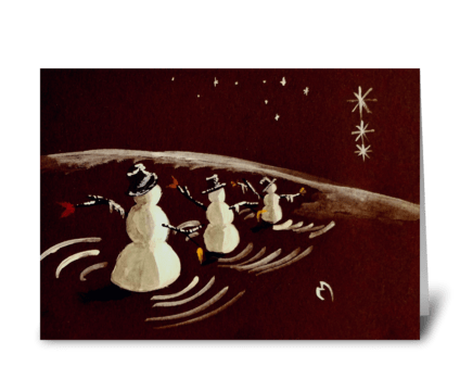 The Static March of Wise Snowmen greeting card
