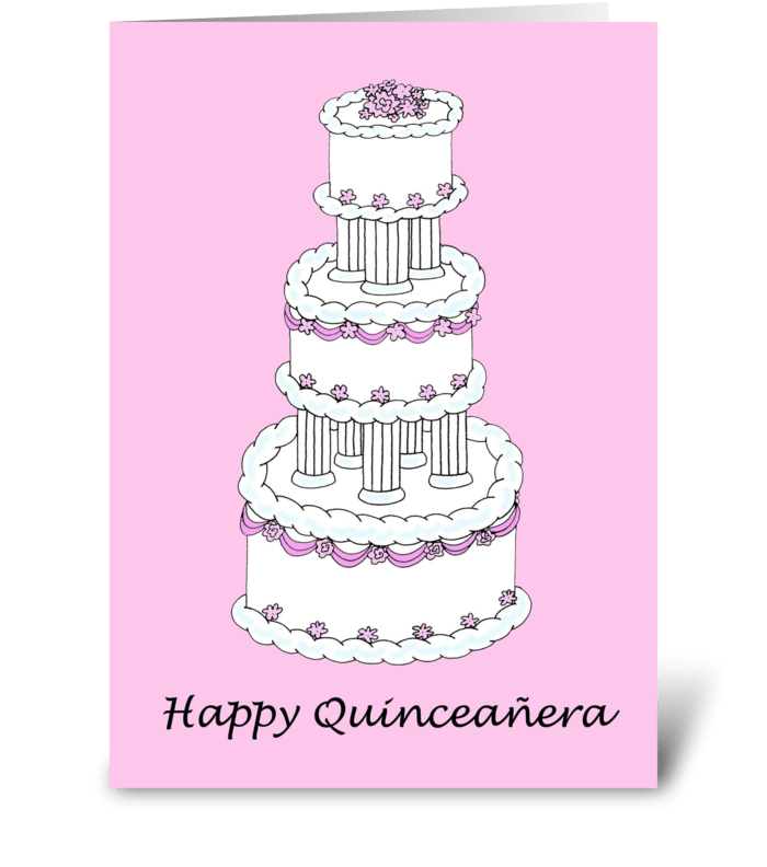 Happy quinceanera beautiful cake send this greeting card designed happy quinceanera beautiful cake greeting card m4hsunfo