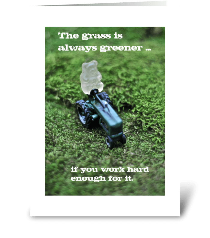 The grass is always greener... greeting card