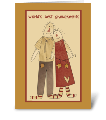Primitive Folk Art Grandparents Day greeting card