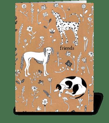 dog friends greeting card