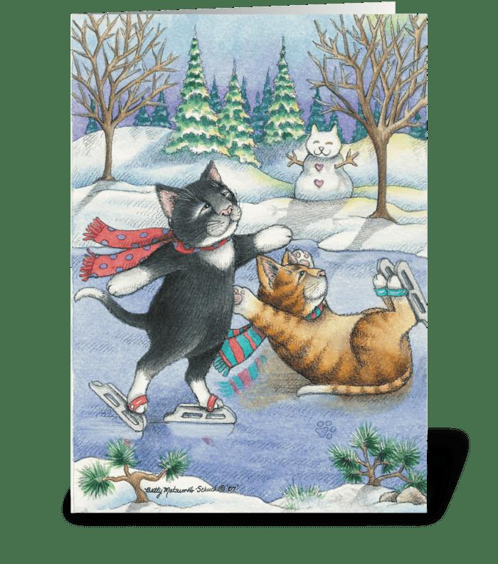 Happy Holidays Ice Skating Cats #13 greeting card