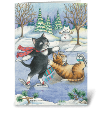 Happy Holidays Ice Skating Cats #13 greeting card