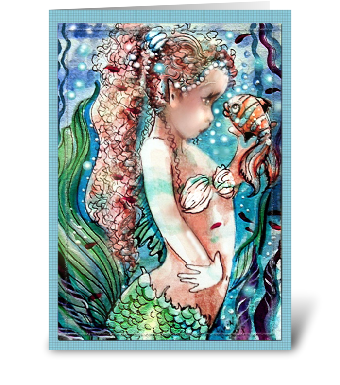 Little Mermaid and Fish greeting card