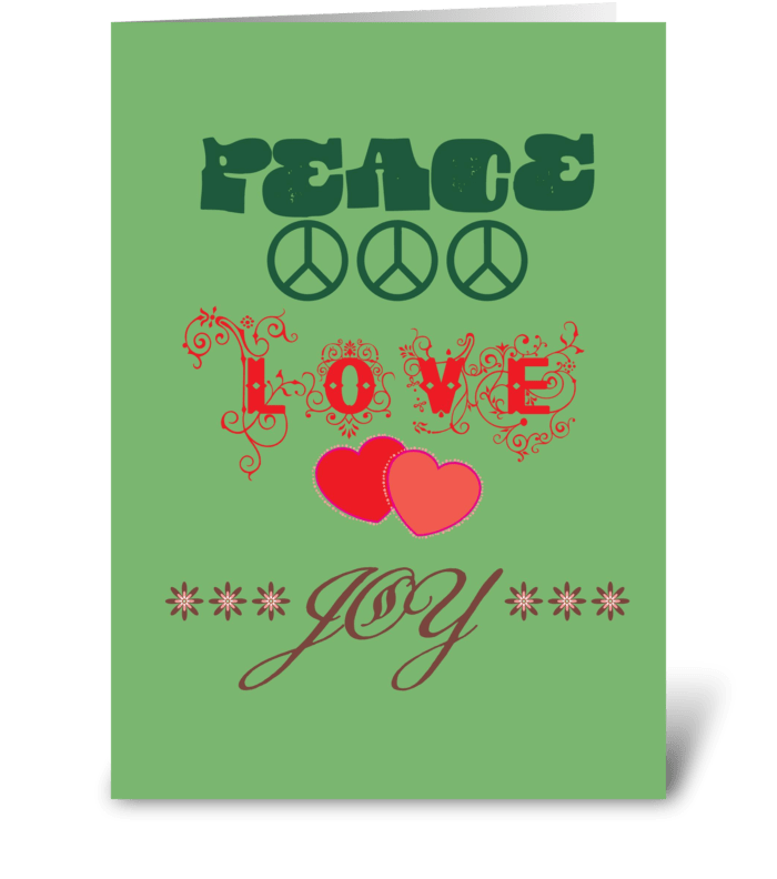 Peace, Love, Joy greeting card
