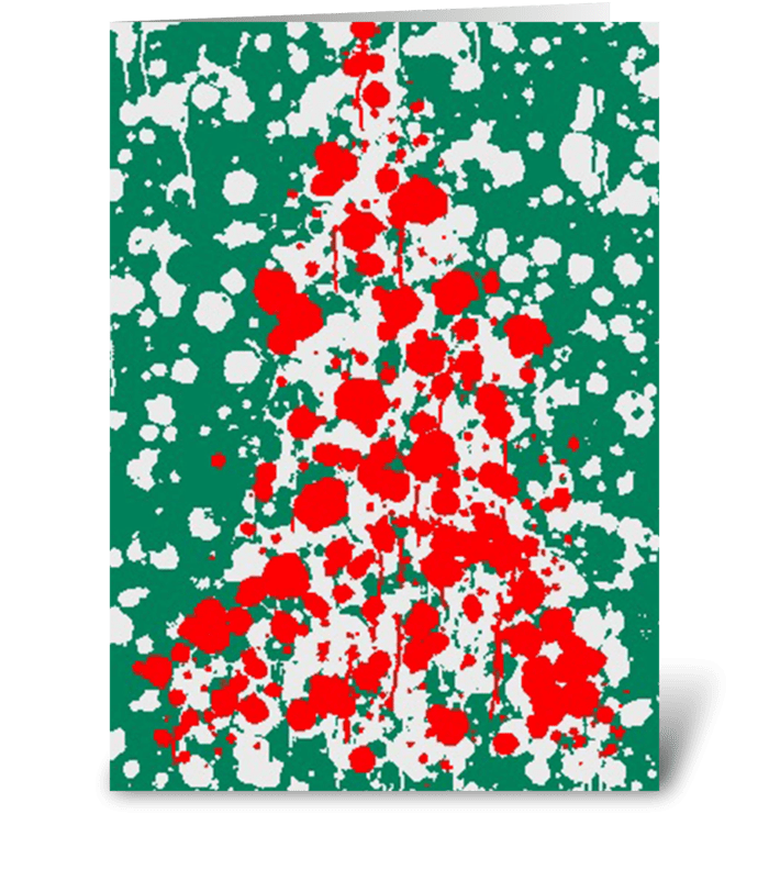 Jackson Pollack Christmas Tree greeting card