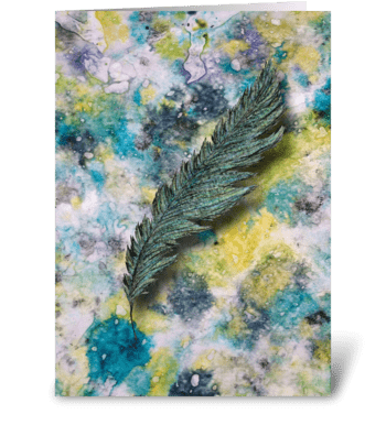 Aqua Feather greeting card