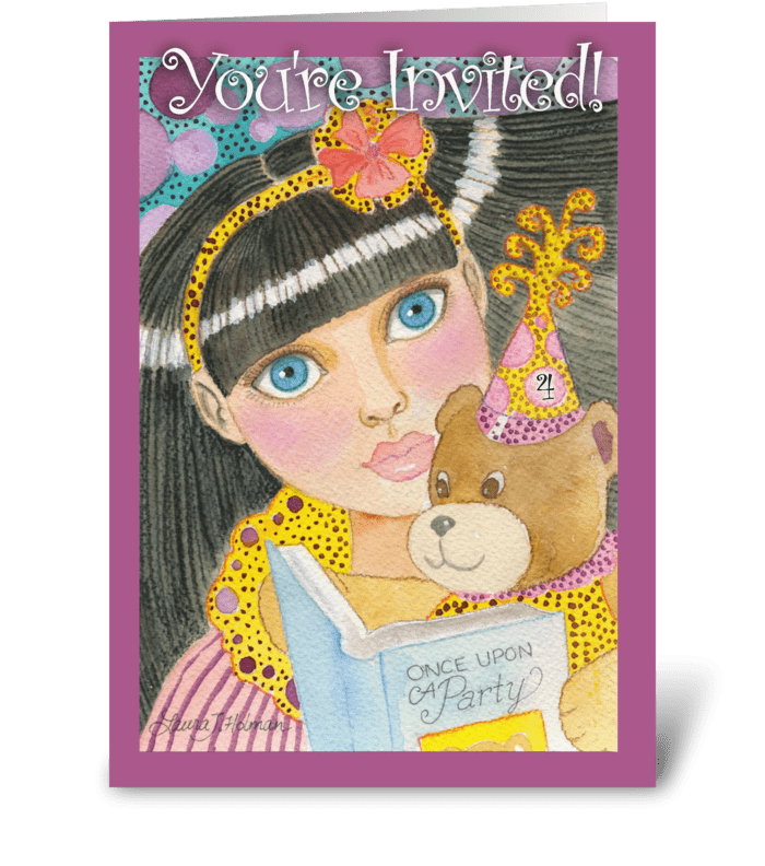 Girl's Fourth Birthday Party Invitation greeting card