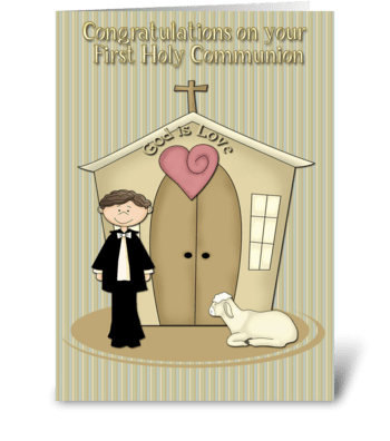 First Communion, Boy, Church, Lamb greeting card