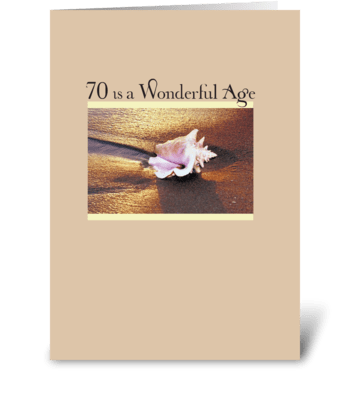 70th Birthday Golden Seashell greeting card