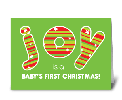 Baby's First Christmas JOY Red & Green greeting card