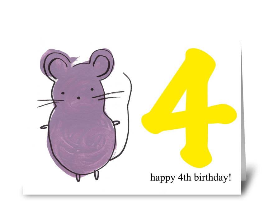 Mouse Happy Fourth Birthday Send This Greeting Card Designed By