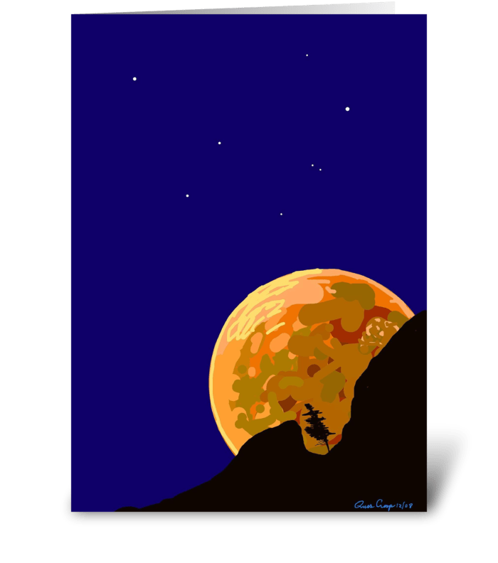 Moon Over Bear Mountaiin greeting card