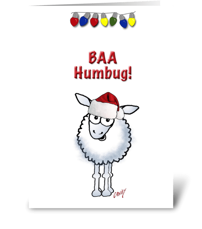 Cartoon Christmas Sheep greeting card