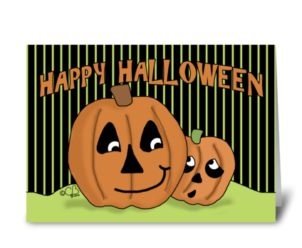 Scaredy Jack-o-lantern-Happy Halloween greeting card