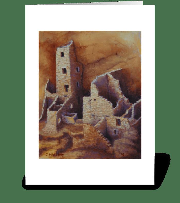 Square Tower, Mesa Verde greeting card