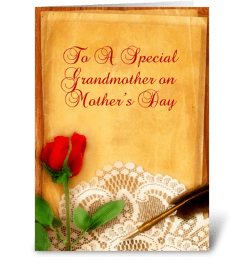 Vintage Lace, Red Rose, Grandmother  greeting card
