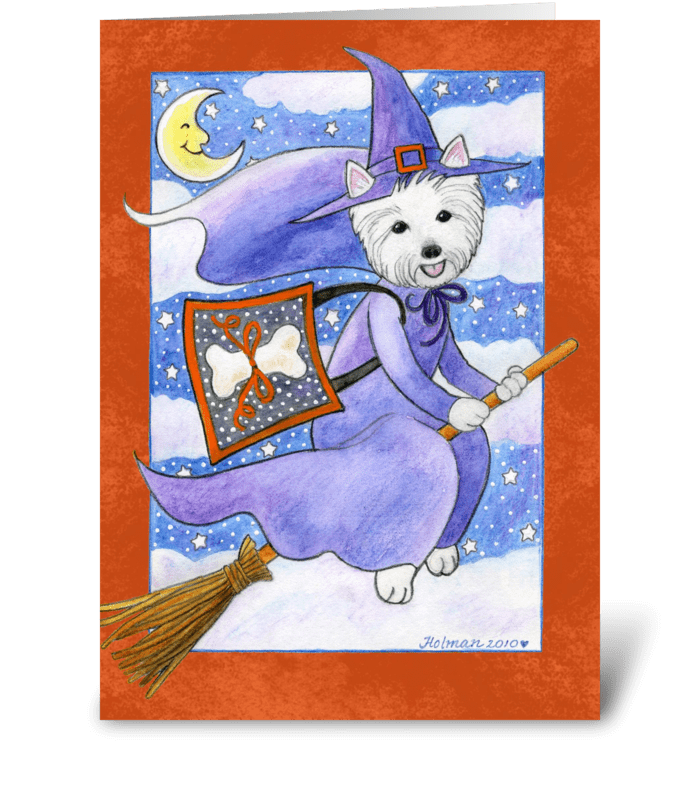 Halloween Westie Dog Witch greeting card