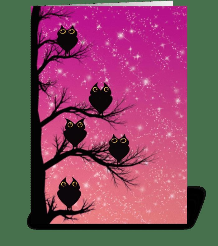 Twilight Owls  greeting card