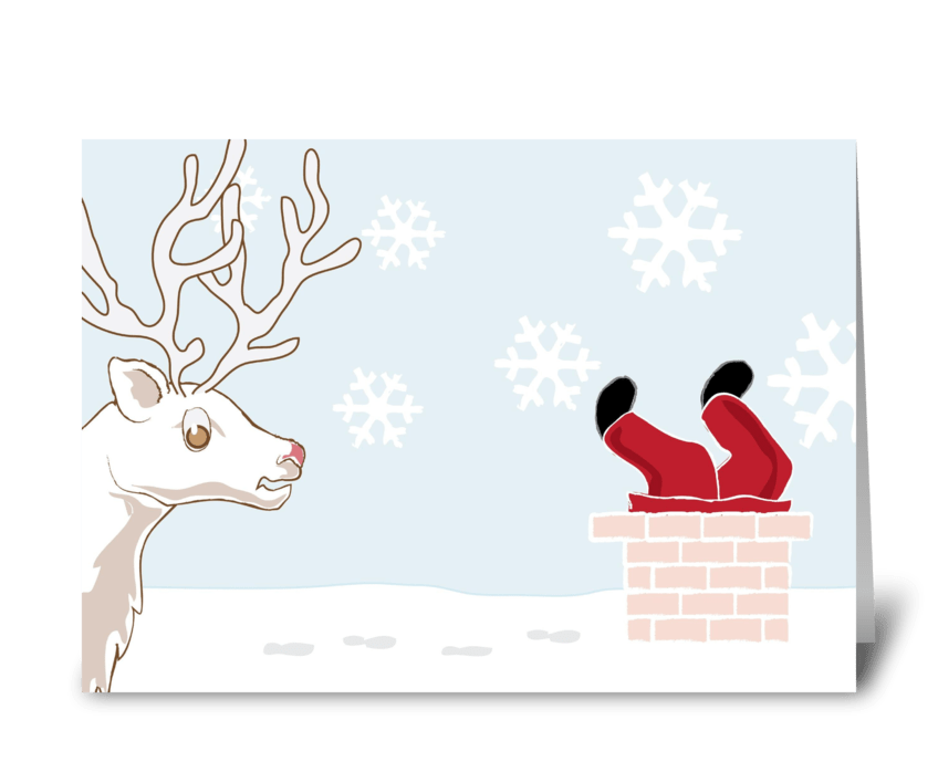 Silly Santa Stuck in  Chimney greeting card