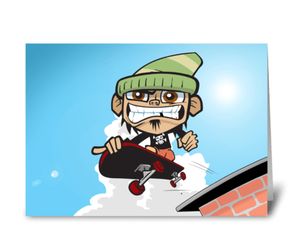 Skateboarding Zim greeting card