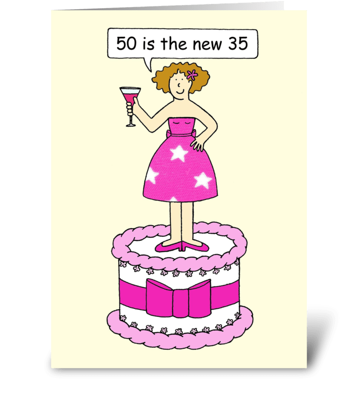 50th Birthday Humor For Her Lady On A Ca Send This Greeting Card