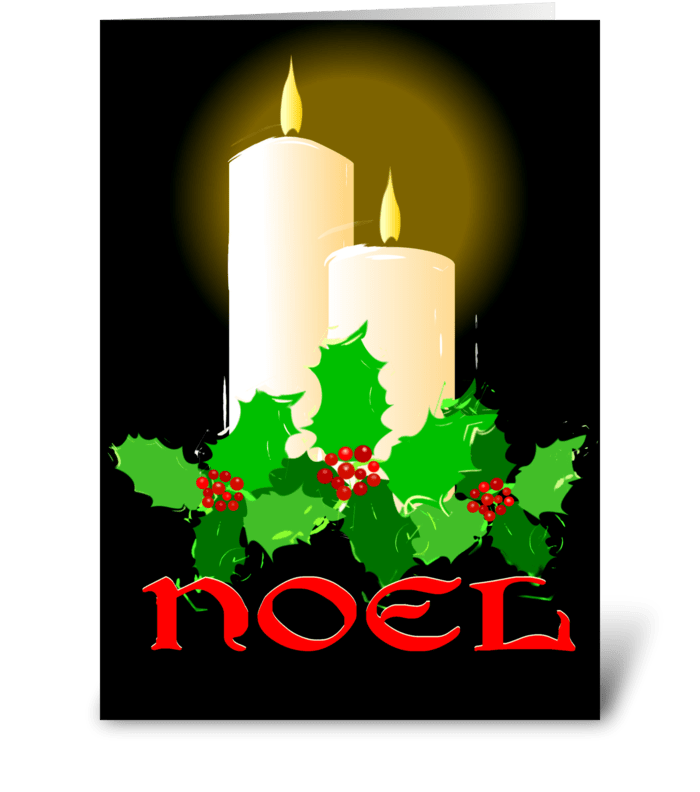 Noel Candles and Holly greeting card