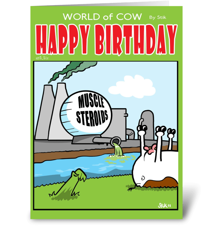 Grass Steroids Birthday card greeting card