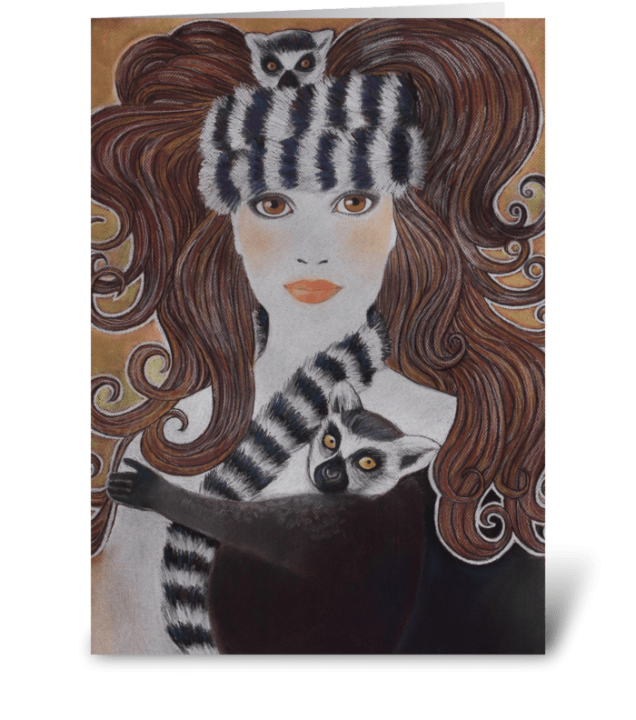 Snow Princess Wearing Lemurs greeting card