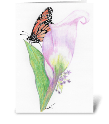 Butterfly and Calla lily greeting card