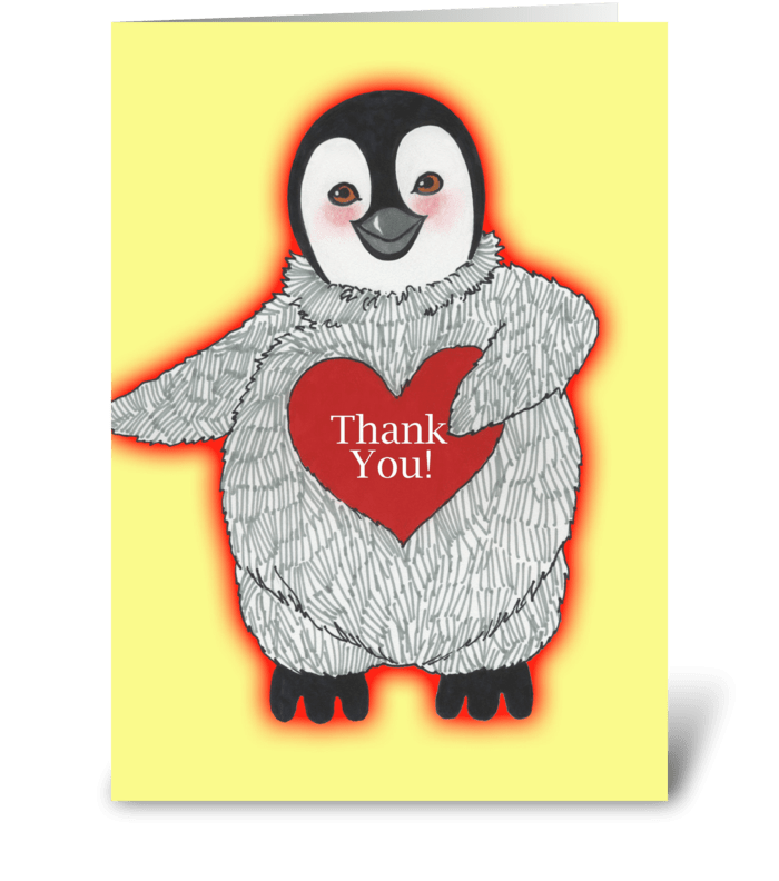 Penguin with Heart Thank You greeting card