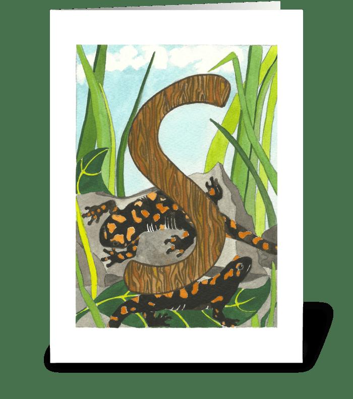 S for Salamander greeting card