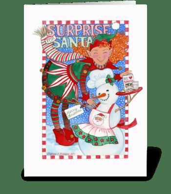 Elf & Snowman Surprise for Santa greeting card